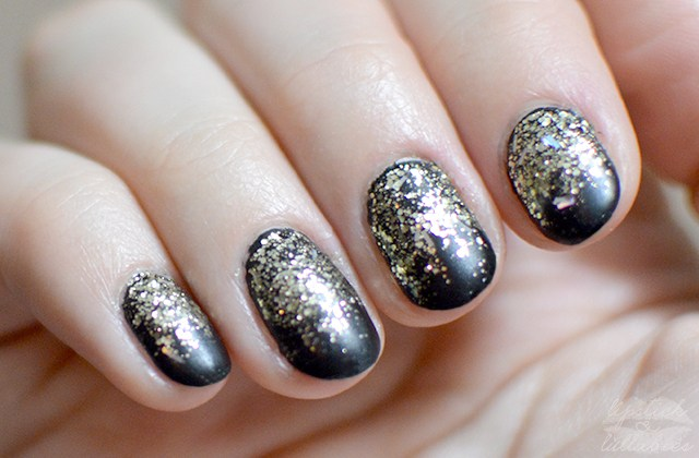 China Glaze De-Light Gold Glitter and Black Mani