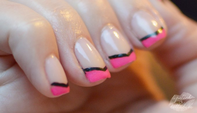 Pink and Black French Tips